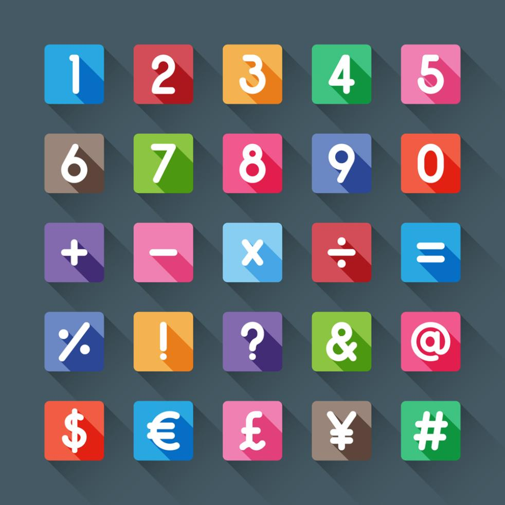 10 Square Symbols And 15 Numbers Vector