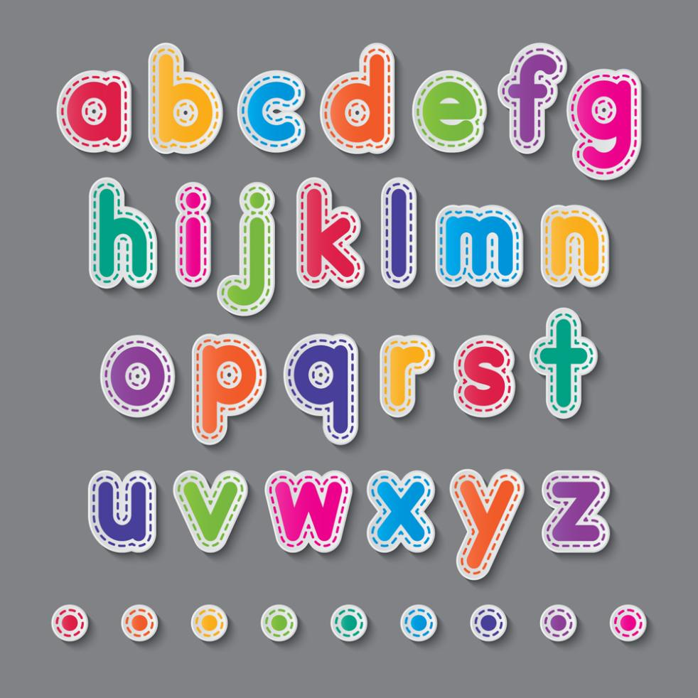 26 Colorful Alphabet Stickers Vector