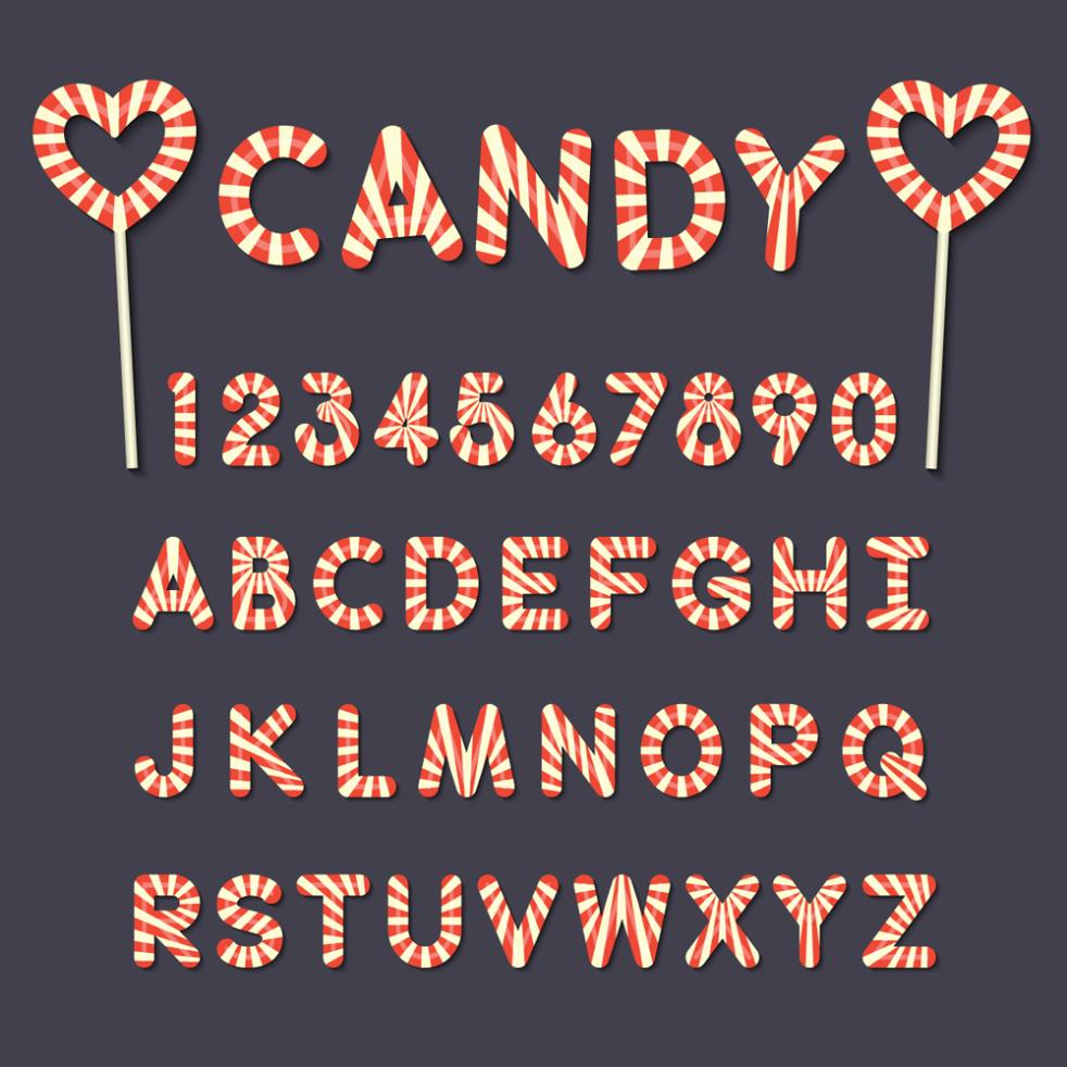 26 Candy Capital Letters And 10 Numbers Vector