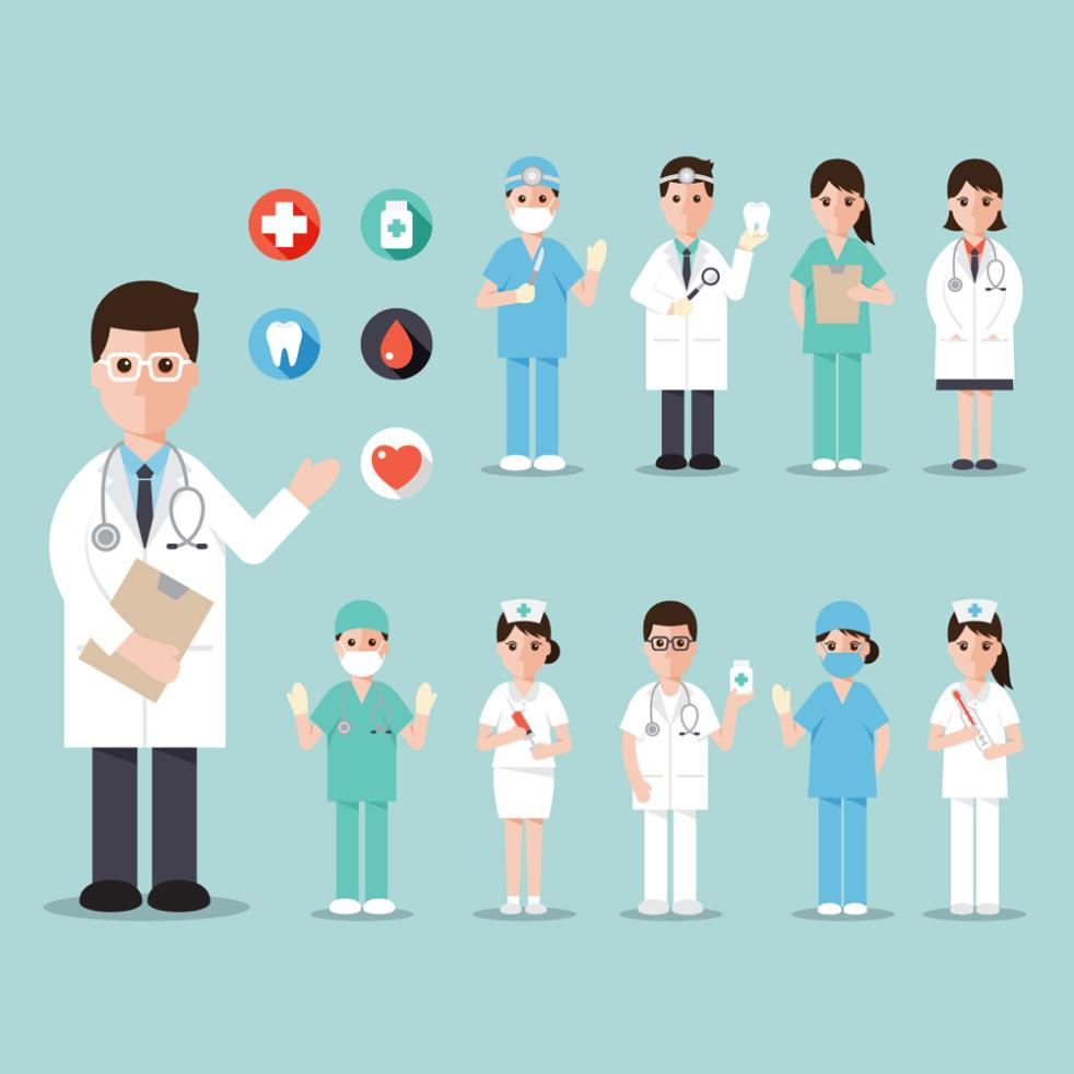 10 Creative Medical Personnel Design Vector