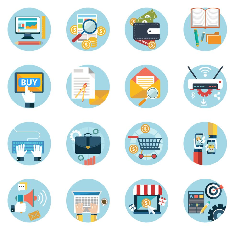 16 Circular Business Elements Icon Vector