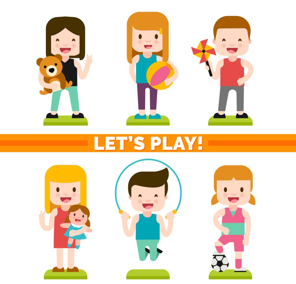 Boys And Girls Of Six Creative Play Vector