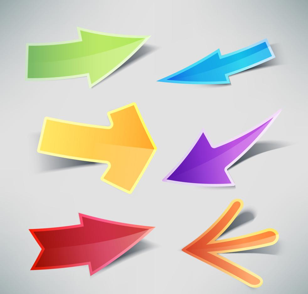 Six Color Arrow Stickers Vector