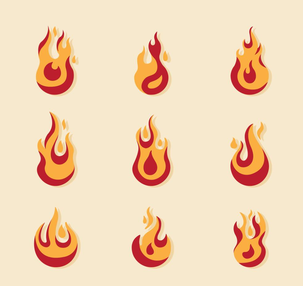 Nine New Creative Flame Design Vector