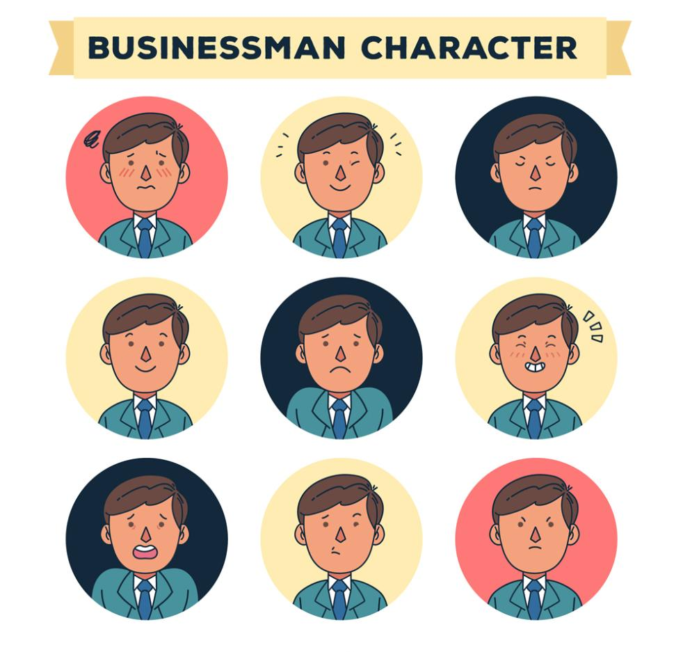 Nine New Business Man Coloured Drawing Or Pattern Expression Vector