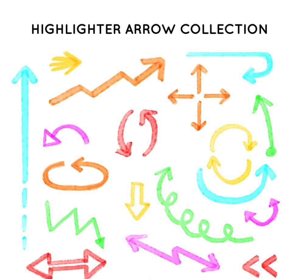 18 Color Fluorescent Pen Draw Arrows Vector