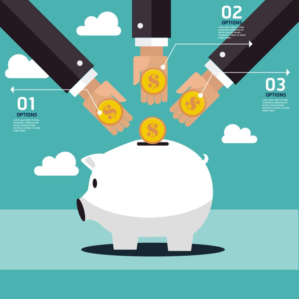 To The Three Arms Of Piggy Bank To Save Money Vector
