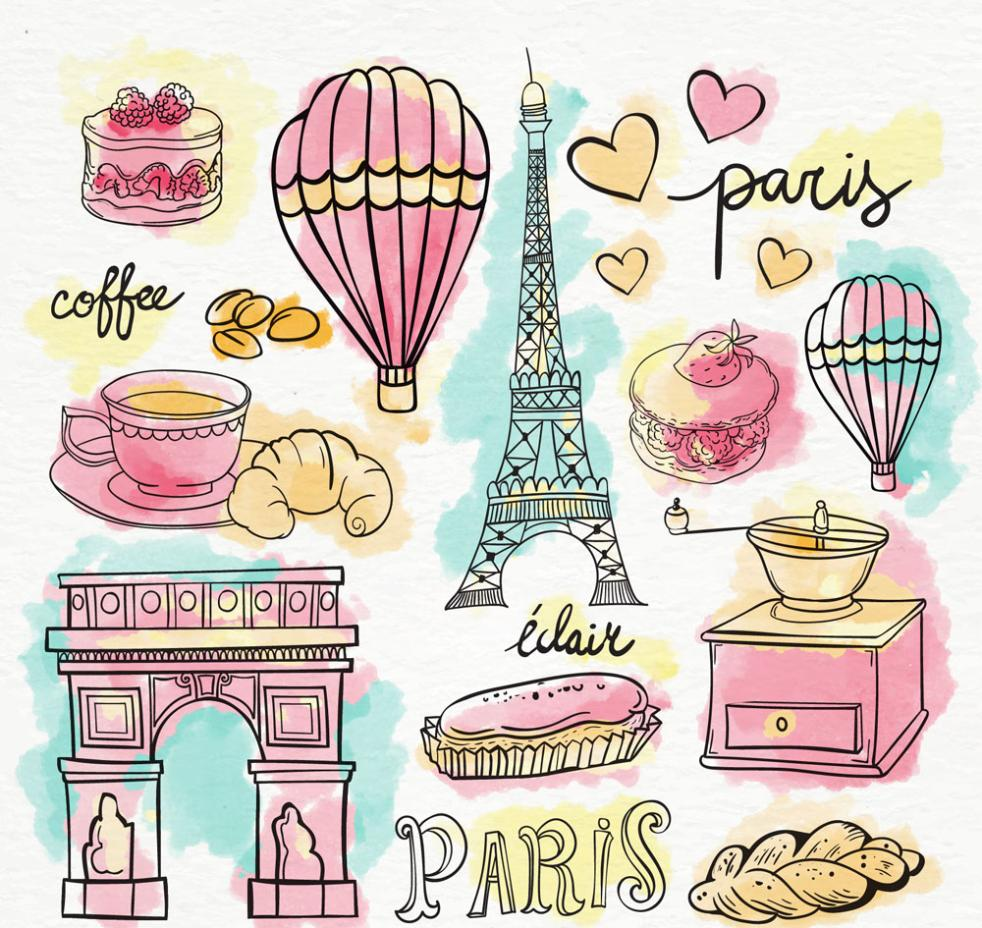 13 Coloured Drawing Or Pattern Elements In Paris Vector