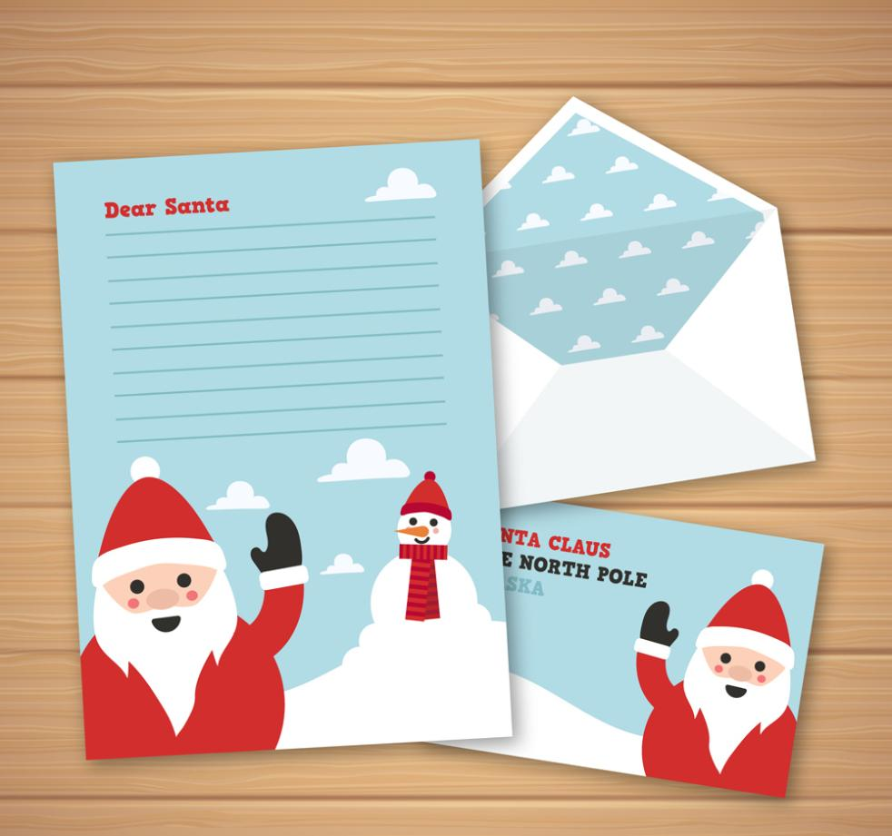 Creative Greet Santa Claus Writing Paper Vector