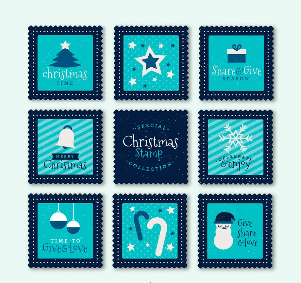 Eight Blue Christmas Stamps Vector