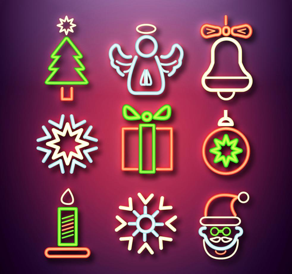 Nine New Colored Christmas Element Icon Vector