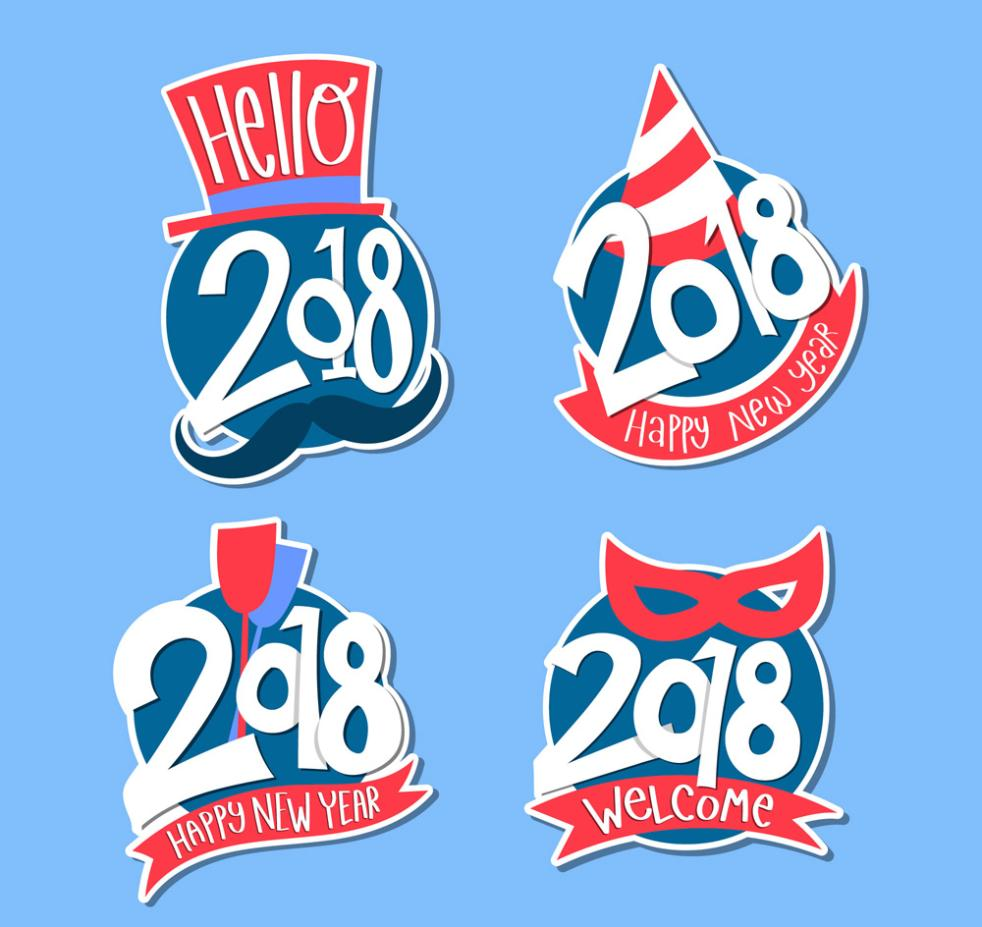 4 Color Label 2018 Happy New Year Vector