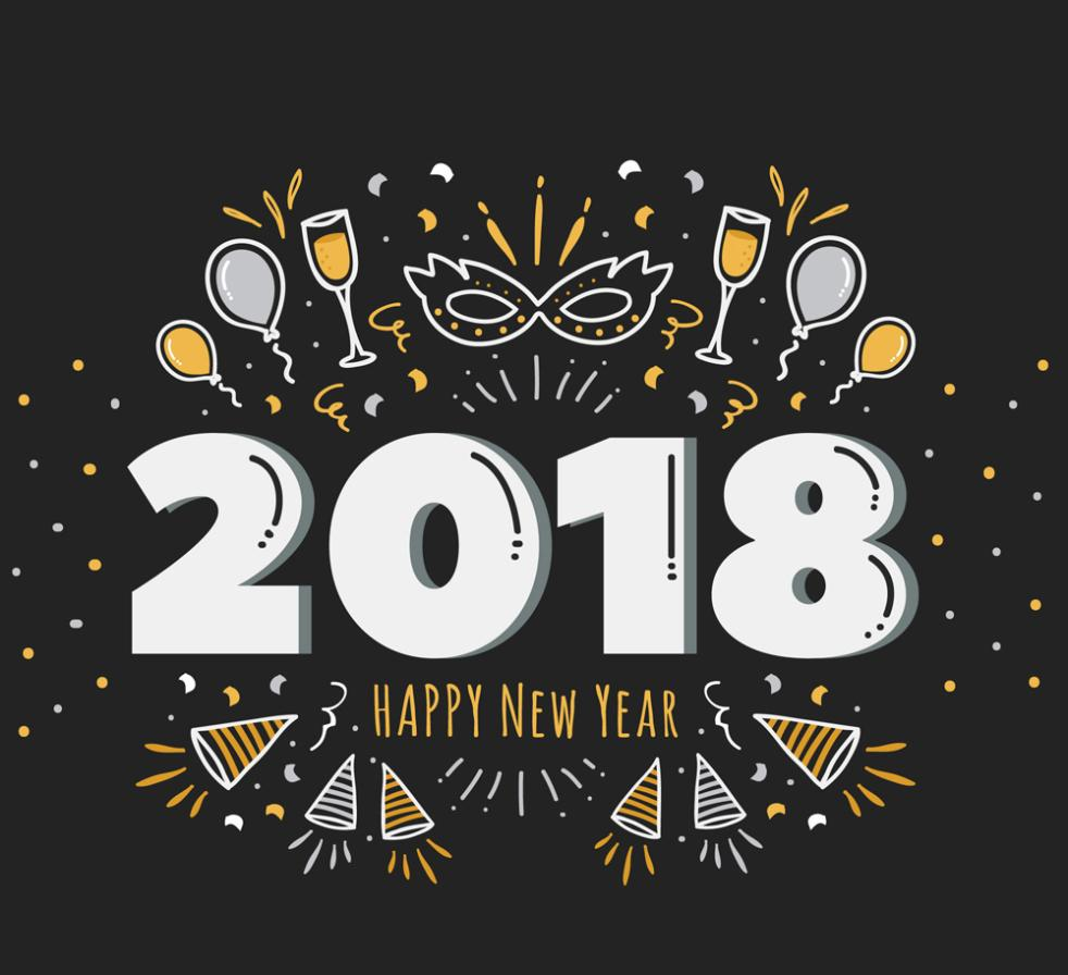 Painting Art 2018 Words And Party Elements Vector