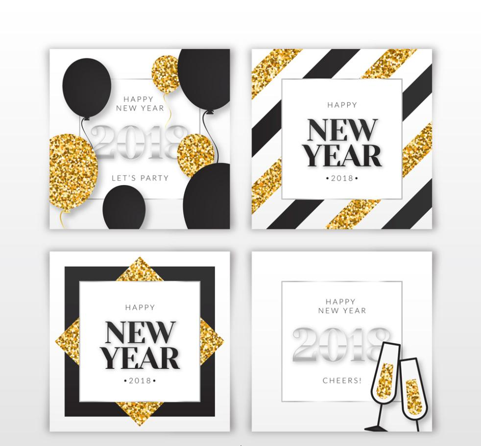 4 Creative 2018 Happy New Year Card Vector