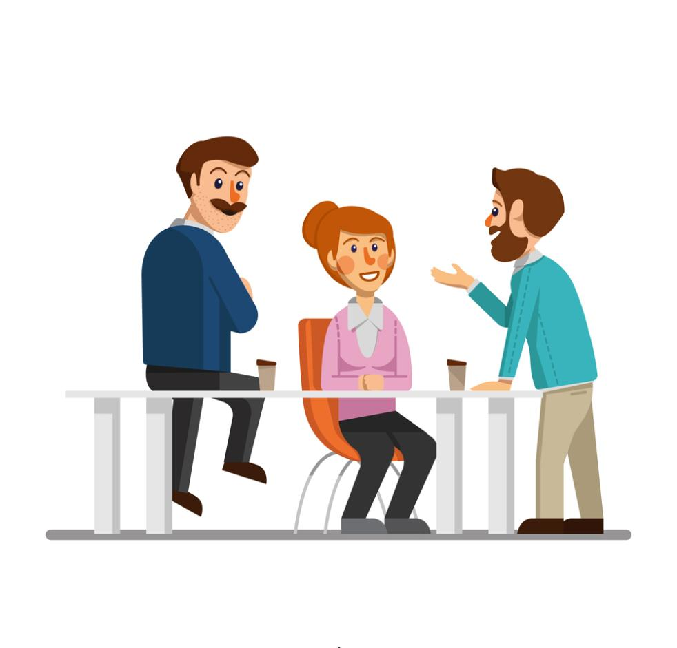 Creative Conversation Three Business People Vector
