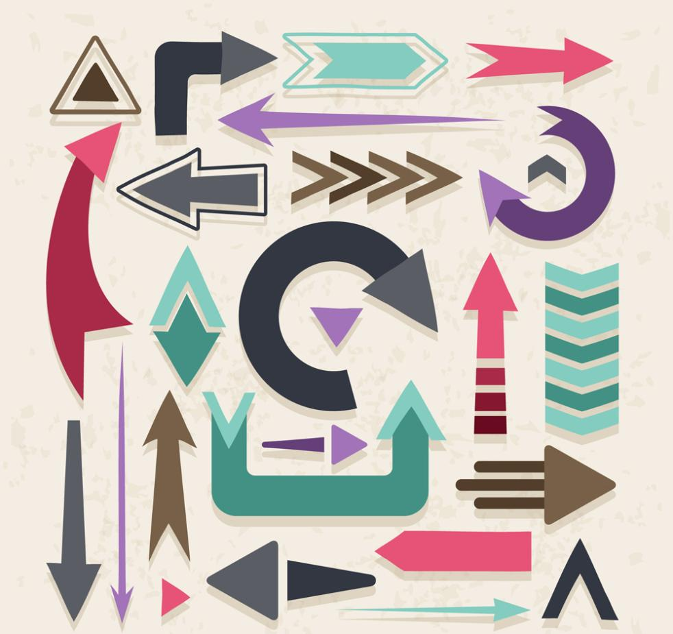 24 Color Arrow Designs Vector