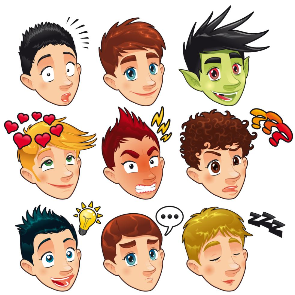 Nine New Cartoon Man Head Vector
