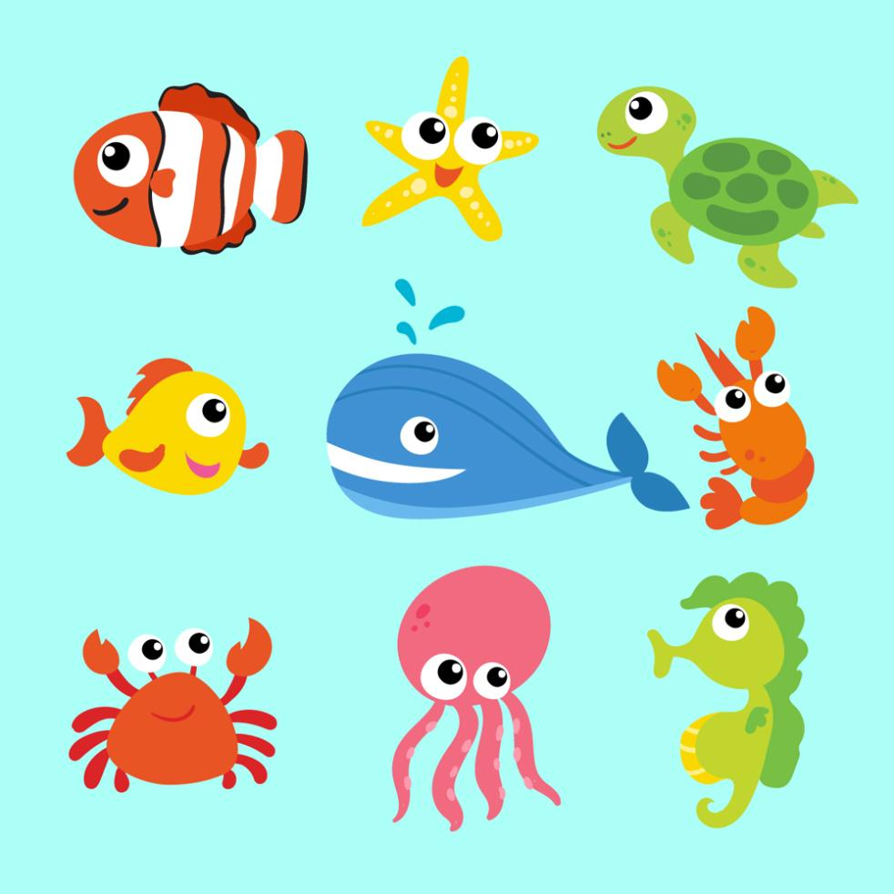 Nine New Cartoon Sea Animals Vector