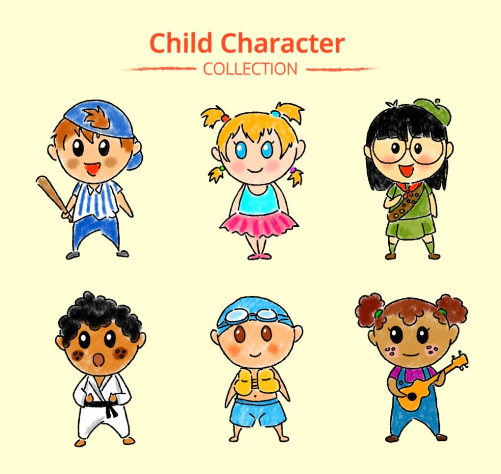 Six Coloured Drawing Or Pattern And Lovely Children Vector