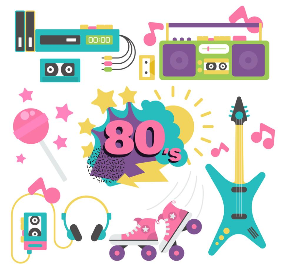 7 Colour Element In The 80 S Vector