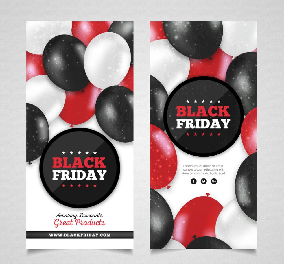The Balloon Banner Creative Black Friday Vector