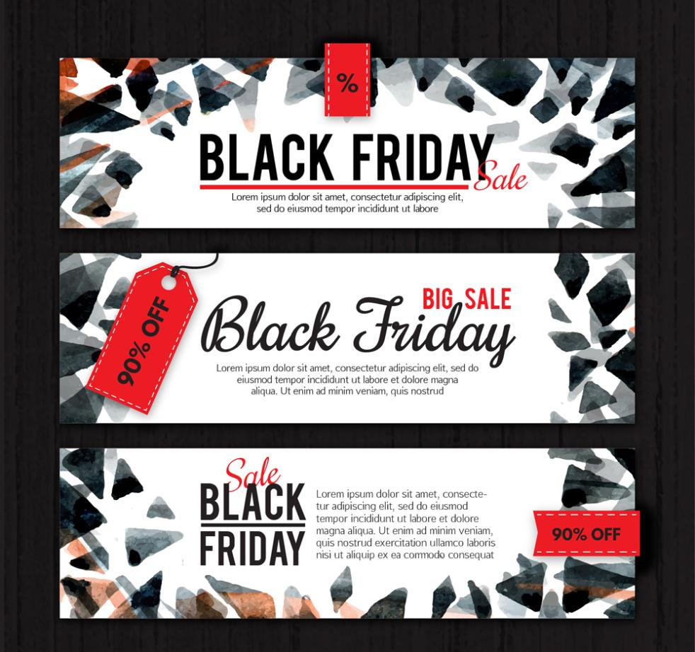 Three Creative Black Banner On Friday Vector