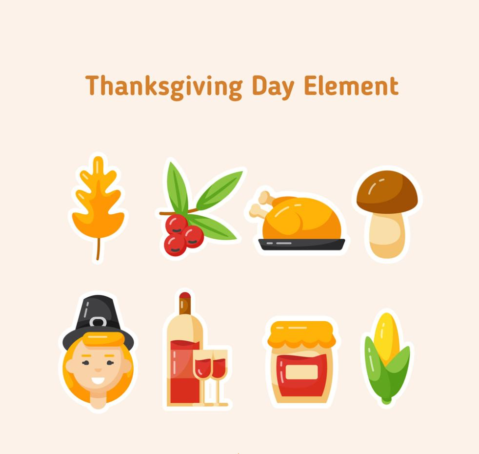 Eight Flattening Thanksgiving Stickers Vector