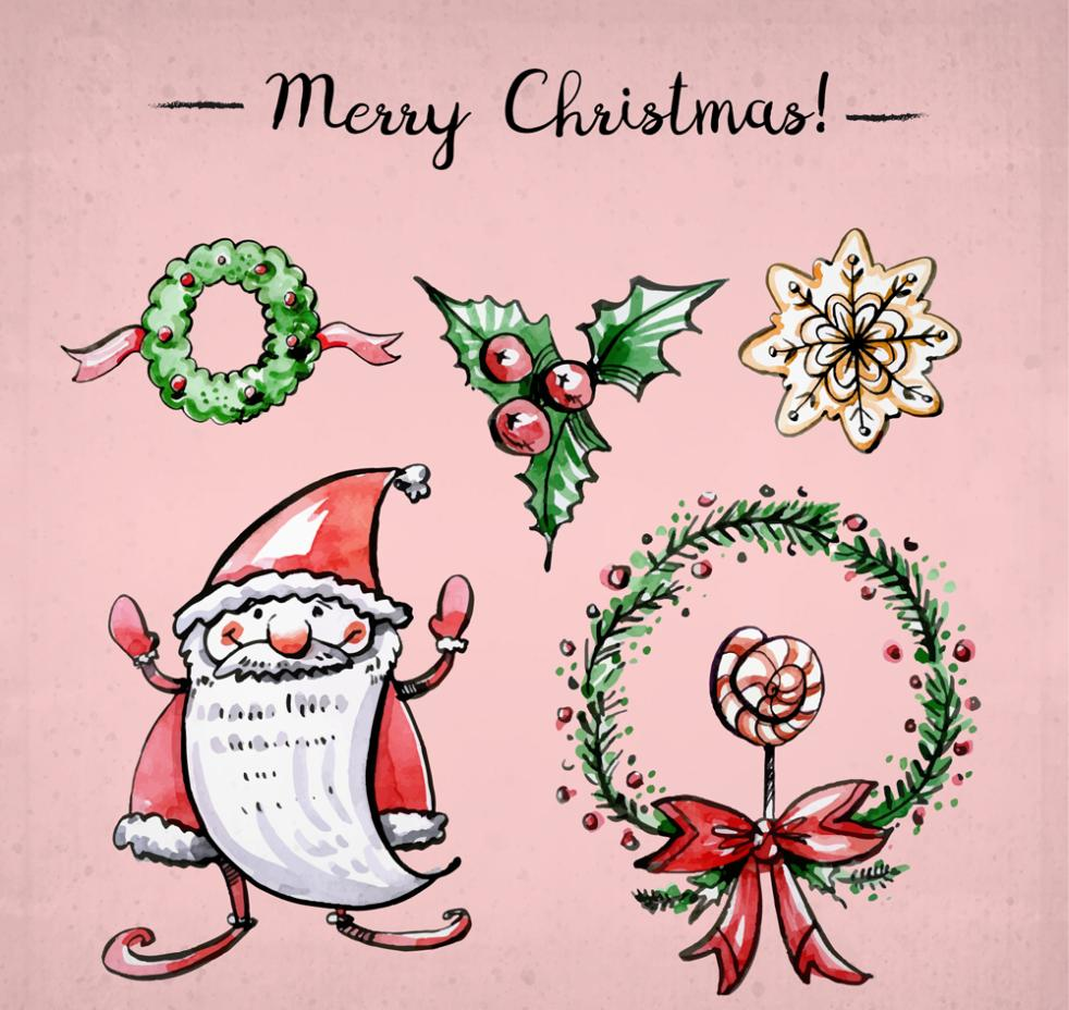 Five Colored Christmas Elements Vector