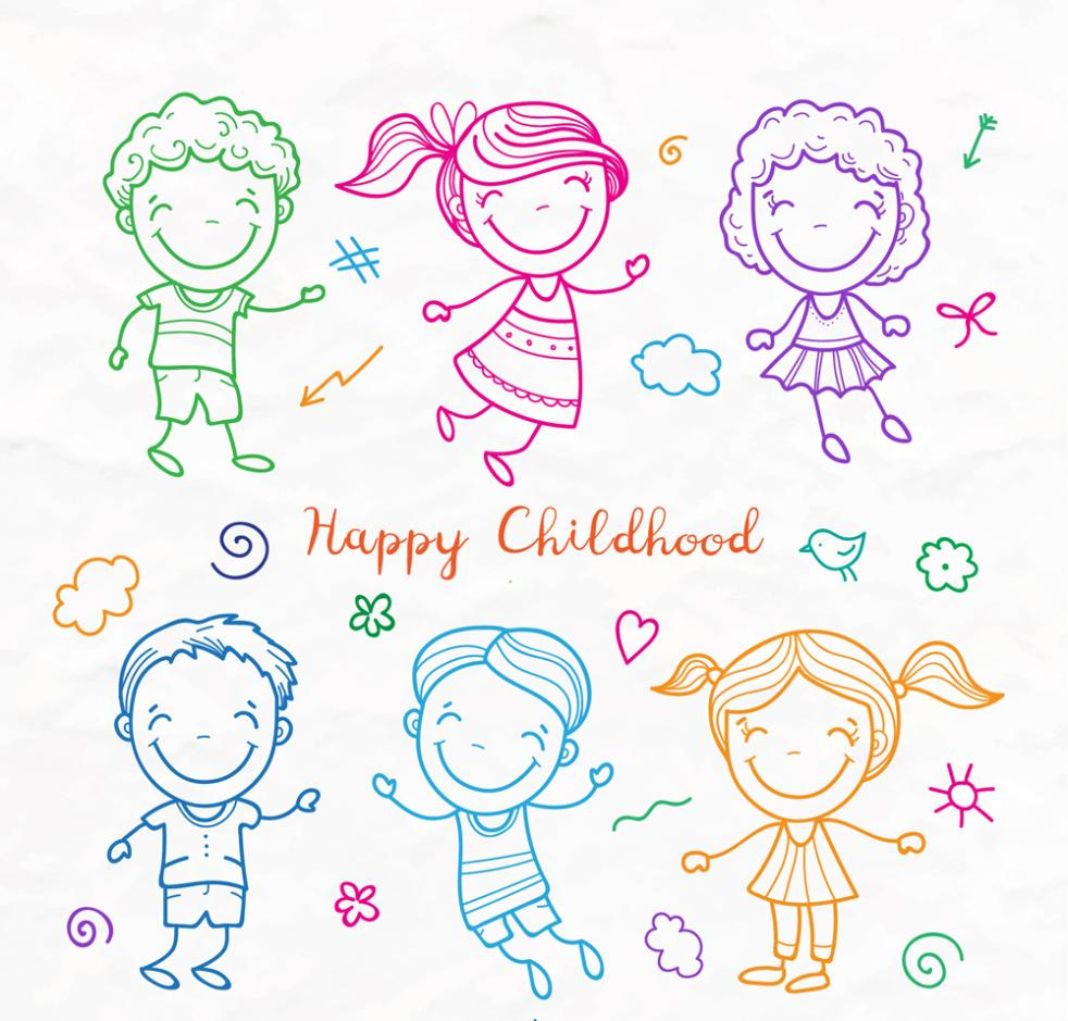 Six Children Coloured Drawing Or Pattern Vector