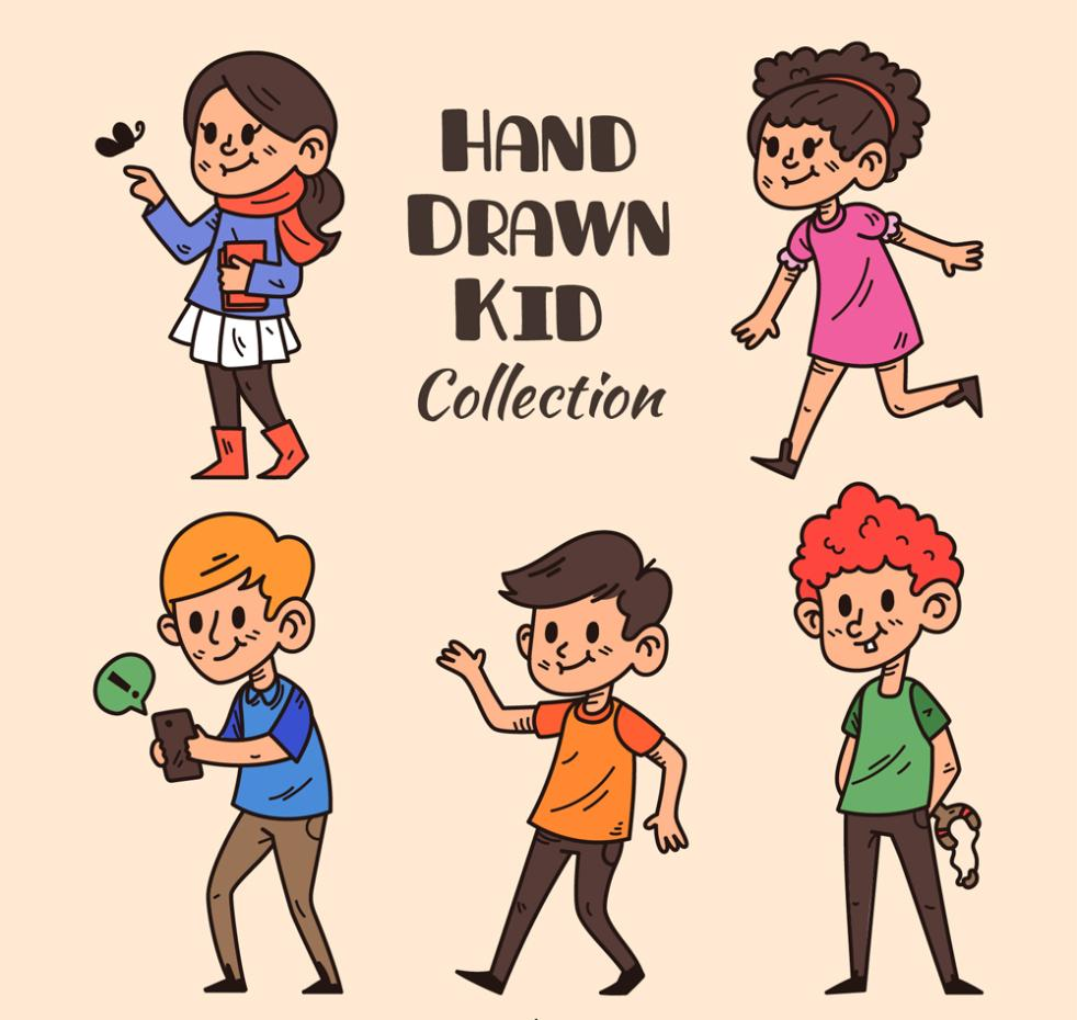 5 Dynamic Coloured Drawing Or Pattern Of Children Vector
