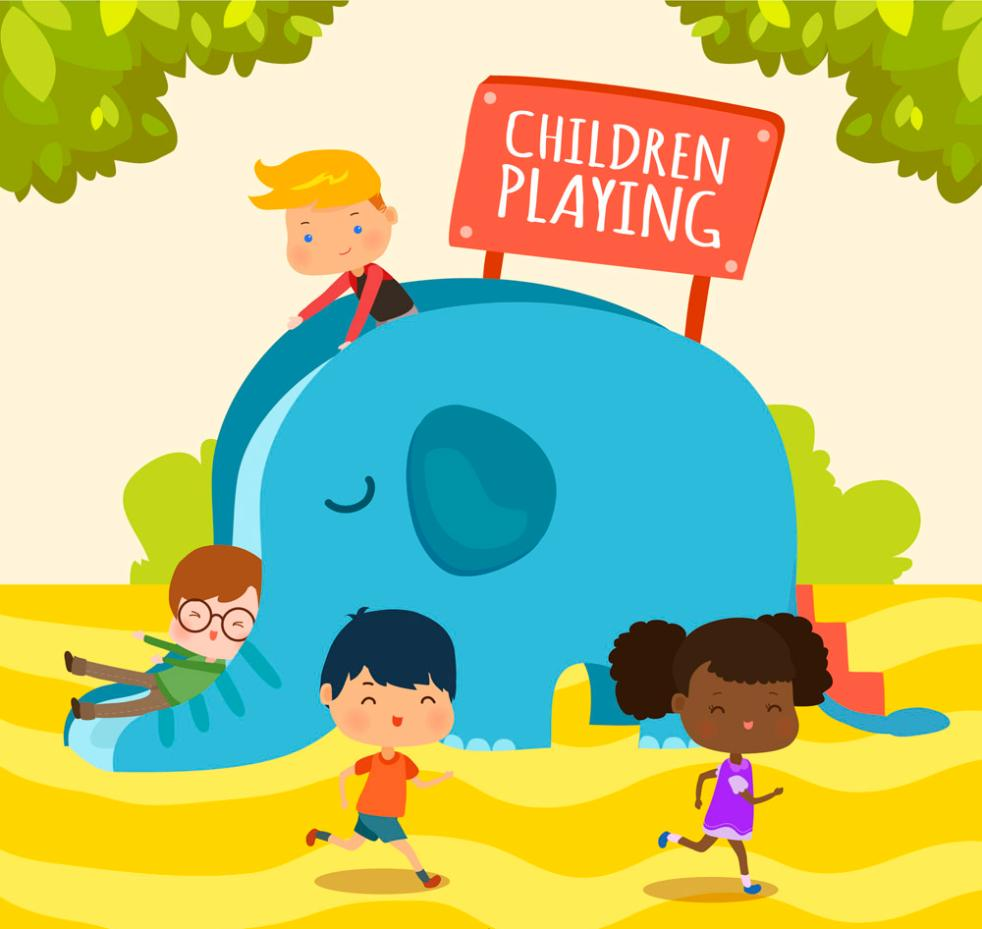 Creative Play Slide 4 Children Vector