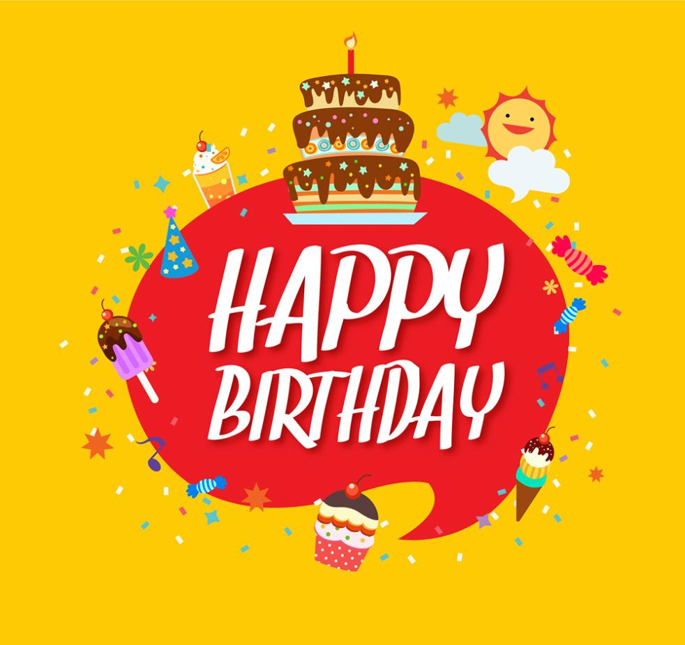 Lovely Birthday Language Bubbles Greeting Card Vector
