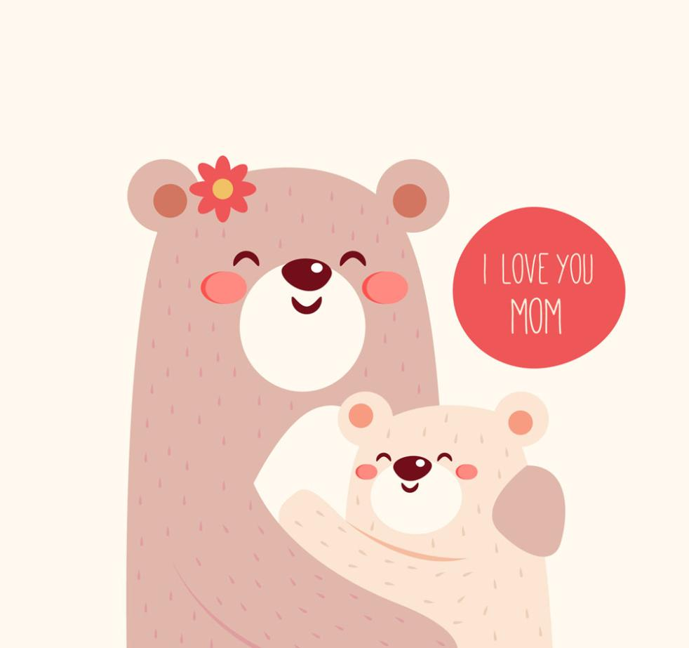 Embrace The Mother Bear Cartoon Vector