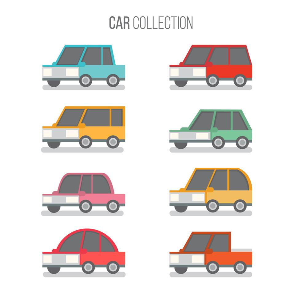 Eight Flat Vehicle Design Vector