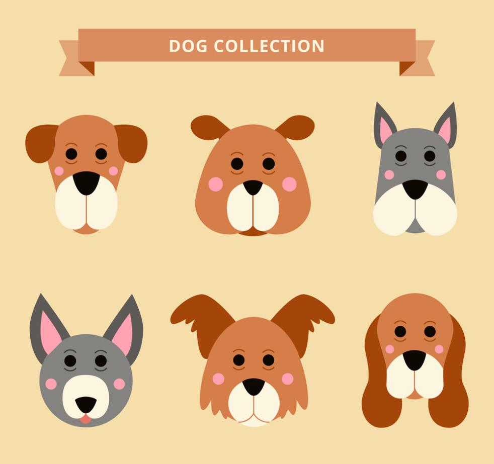 Six Cute Dog Vector