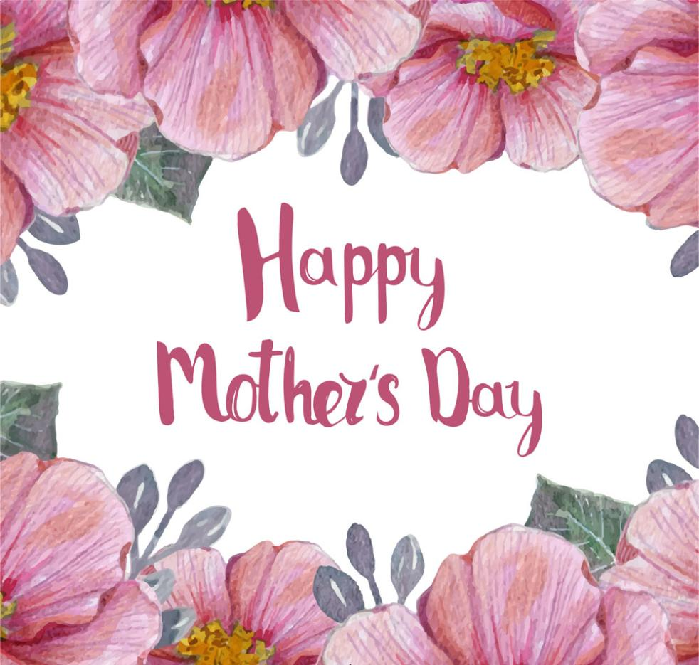 Water Painted Pink Flowers On Mother's Day Cards Vector