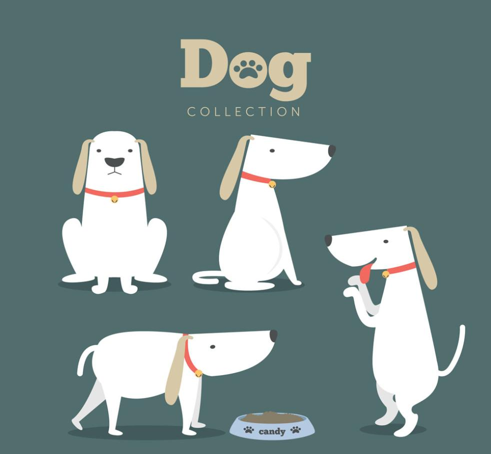 Five Cute Pet Dog Action Vector