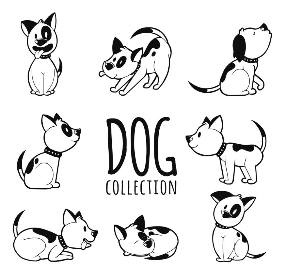 Eight Lovely Pet Dog Vector