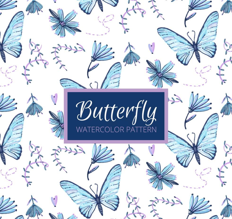 Blue Butterflies And Flowers Seamless Background Vector