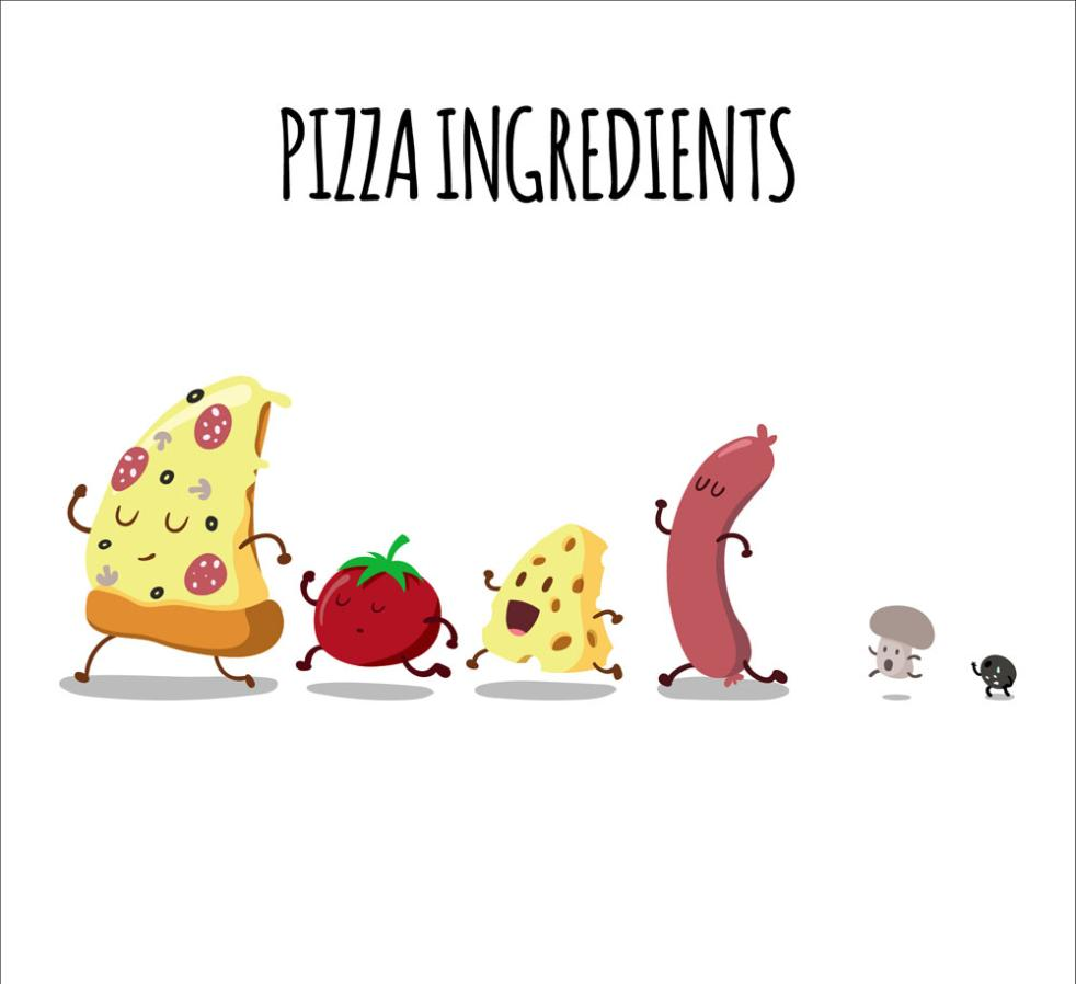 Six Runners Pizza Raw Materials Vector