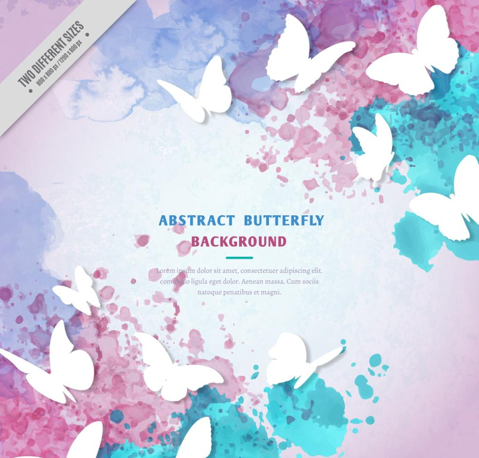 White Texture And Butterfly Watercolor Ink Vector