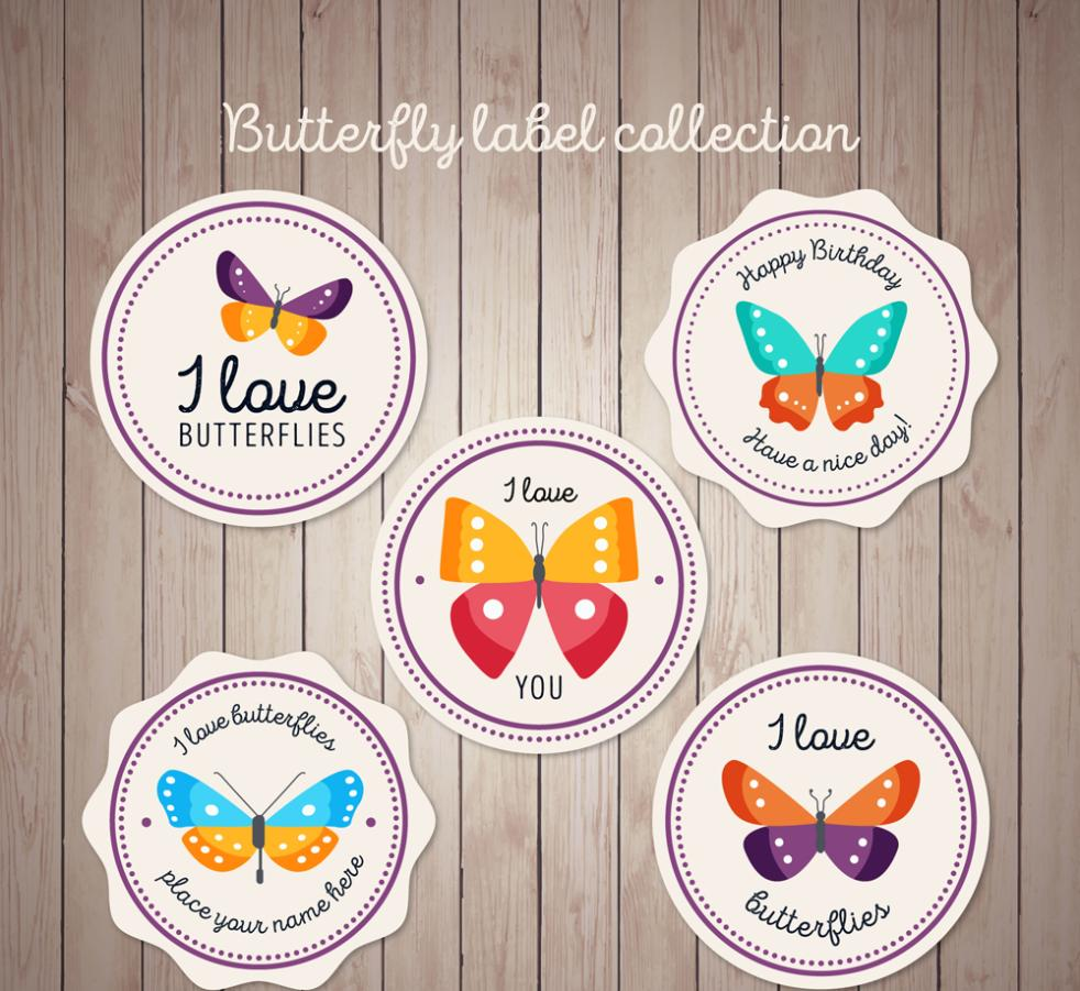 5 Round Color Butterfly Label Vector