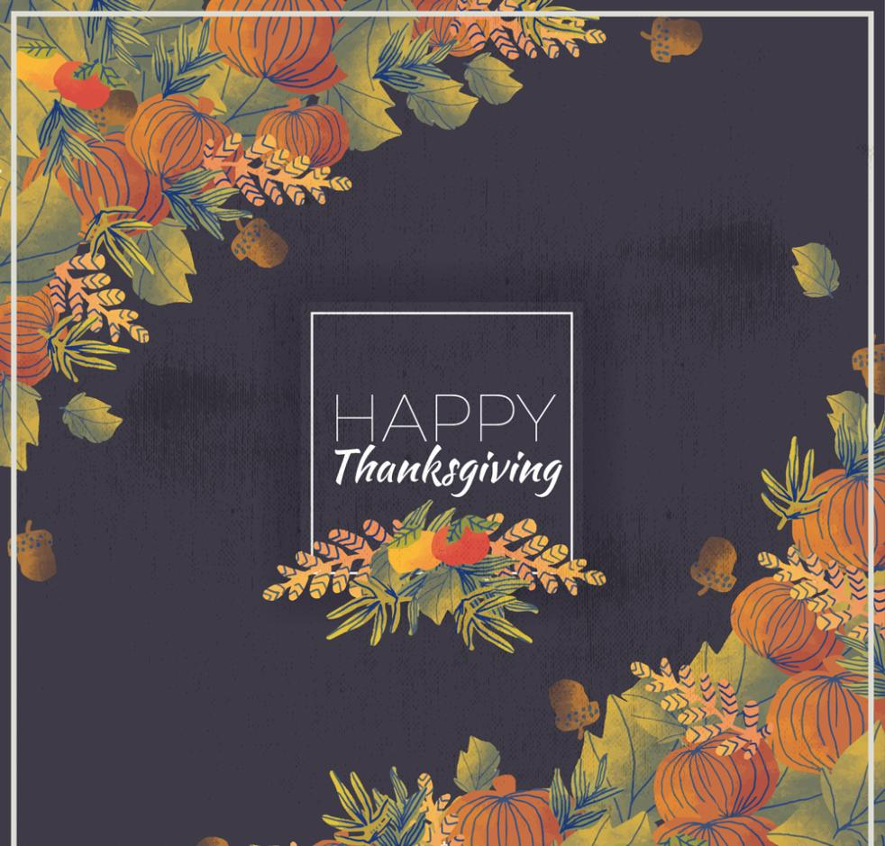 Autumn Leaves Thanksgiving Cards Coloured Drawing Or Pattern Vector