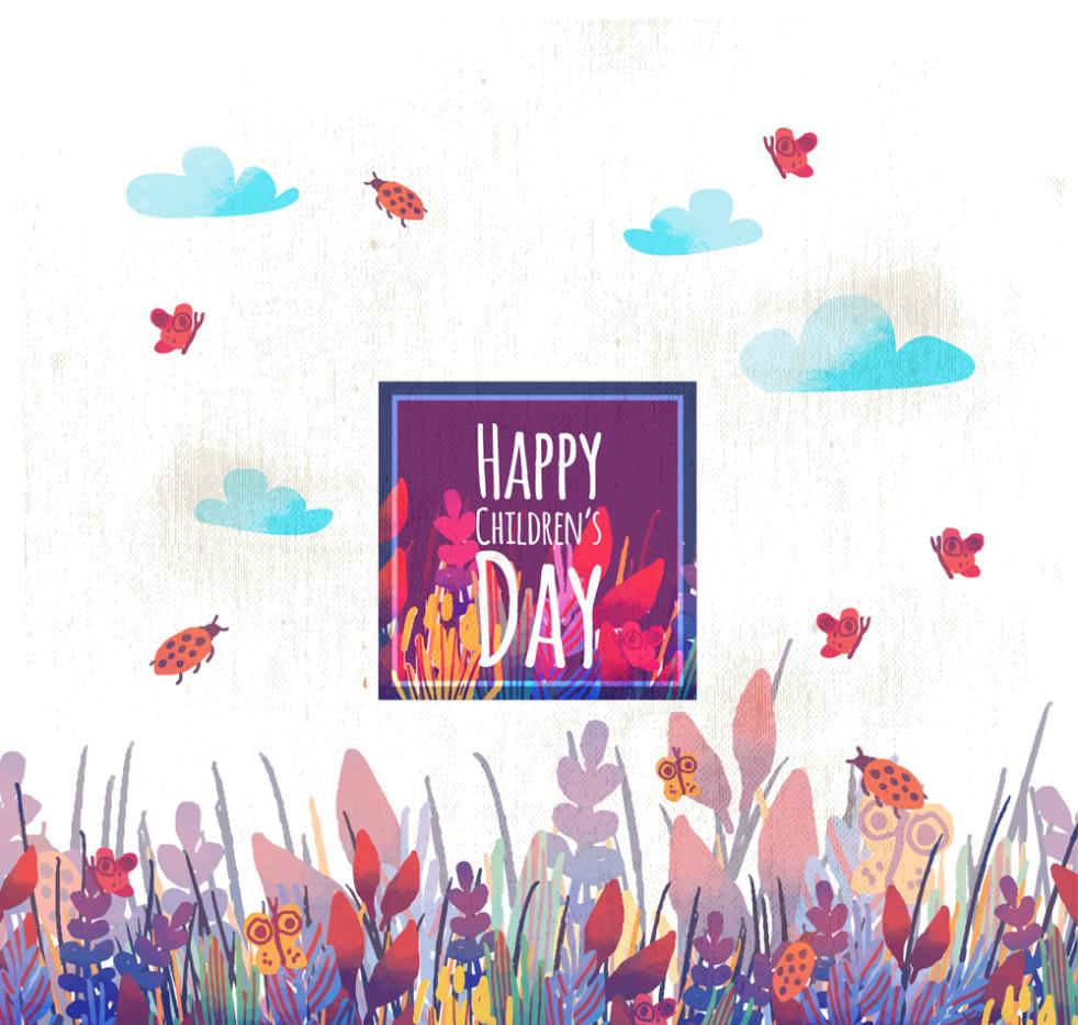 Painted Flowers And Plants Is Children's Day Card Vector
