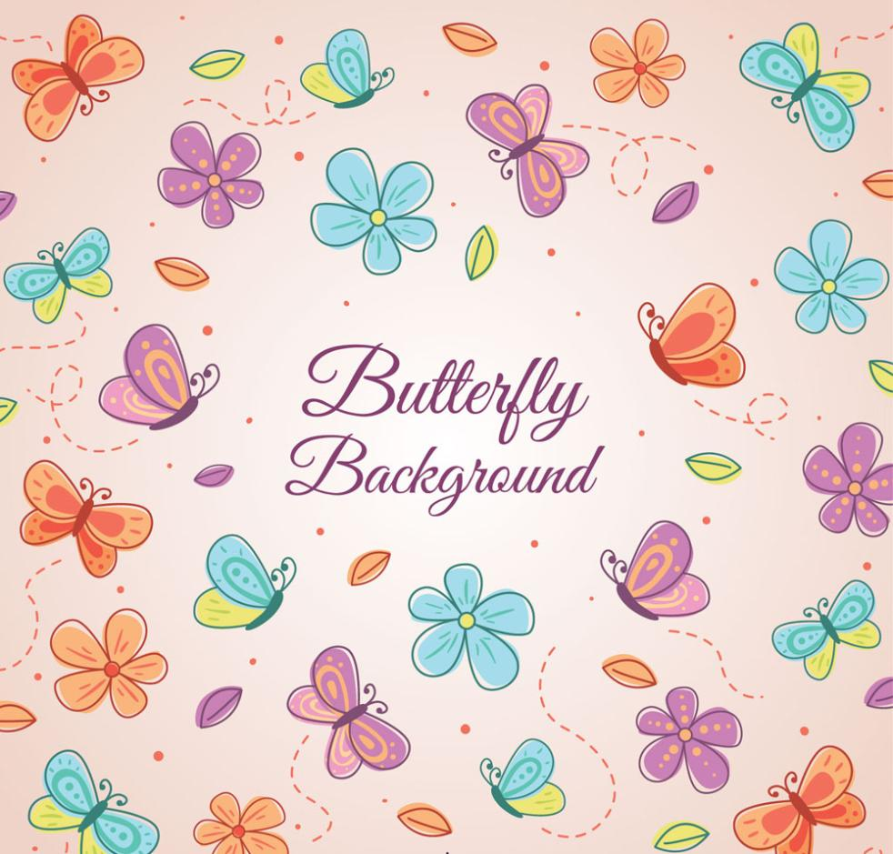 Seamless Background Painted Butterflies And Flowers Vector