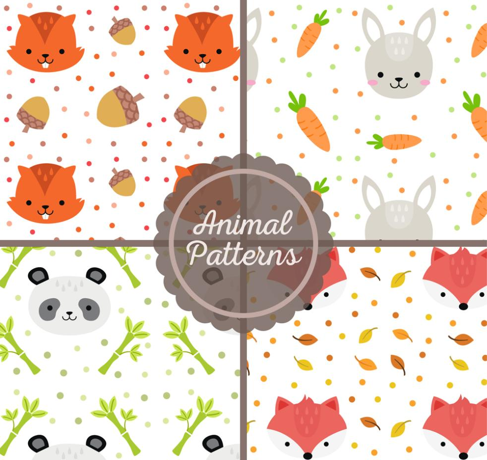 4 Kind Of Lovely Animal Head Seamless Background Vector