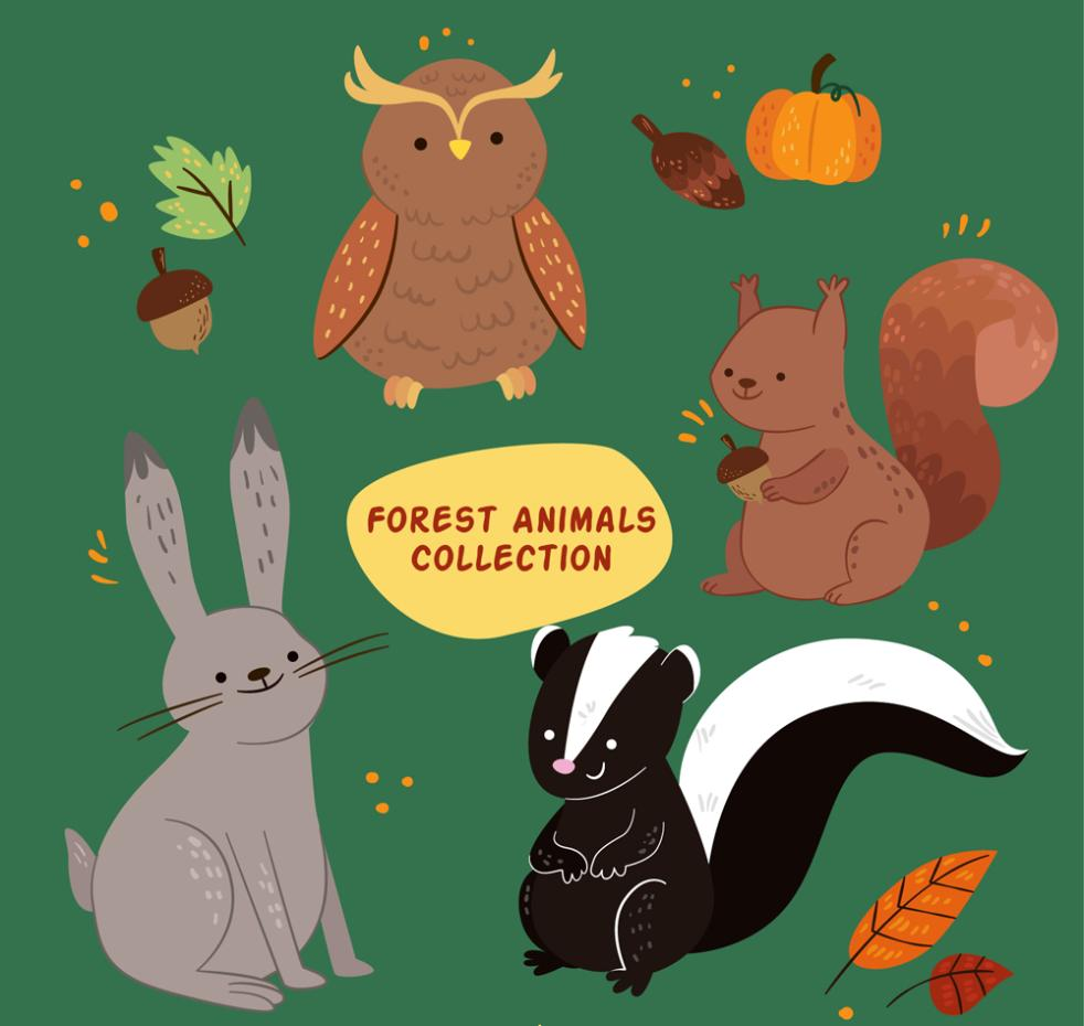 4 Cartoon Forest Animal Designs Vector