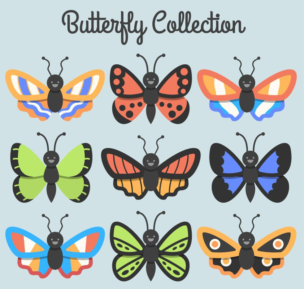 Nine New Cartoon Butterfly Design Vector