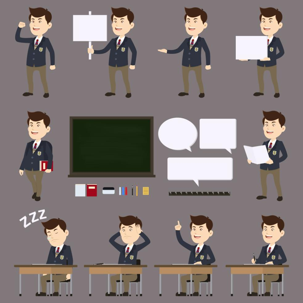 10 Design Cartoon Male Students Vector