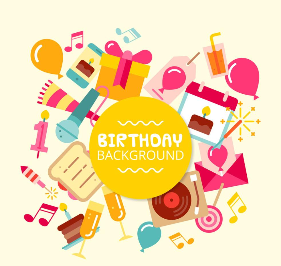 Background Color Birthday Elements Vector